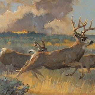 Bob Kuhn (1920–2007): Code Orange – Mule Deer (1987)