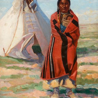 Frank Tenney Johnson (1874–1939): Sioux Woman and Baby (circa 1890)