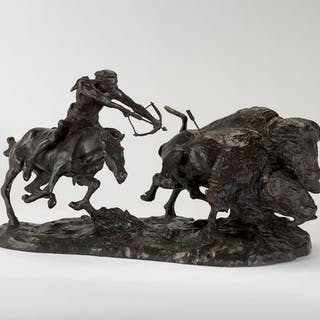 Charles M. Russell (1864–1926): Buffalo Hunt [or] Buffalo Runner