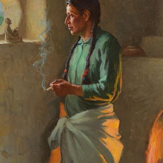 Joseph Henry Sharp (1859–1953): At a Pueblo Window