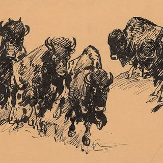 Edward Borein (1872–1945): Buffalo; Western Town; Supply Wagon; Cowboy