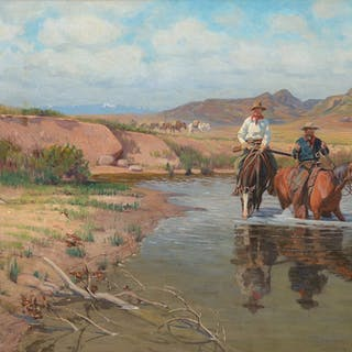 Richard Lorenz (1858–1915): Fording the Big Horn (1901)