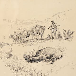 Charles M. Russell (1864–1926): The Elk Hunt (1926)