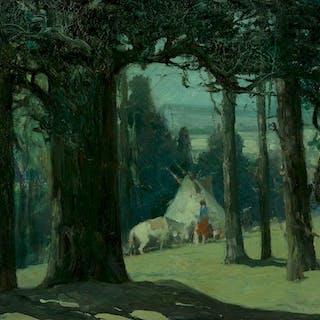Oscar Berninghaus (1874–1952): Moonlight, Hondo Canyon (circa 1930s)