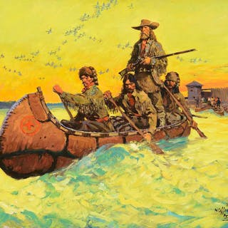 Frank b. Hoffman (1888–1958): Trappers Leave Ft. Union
