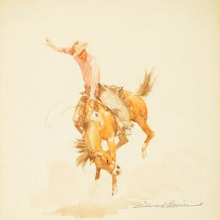 Edward Borein (1872–1945): Bucking Horse with Rider