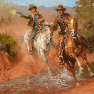 Andy Thomas (b. 1957): Dick Brewer, Billy the Kid and the Regulators