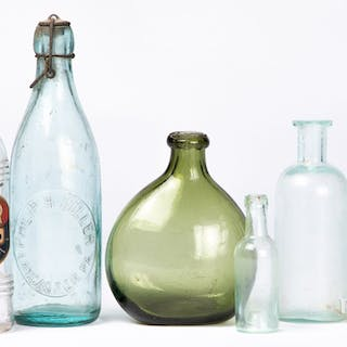 Blown olive glass bottle, etc.