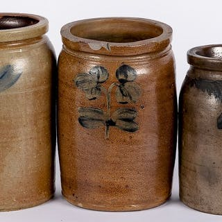 Three cobalt decorated stoneware jars