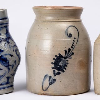 Cobalt decorated stoneware crock, etc.
