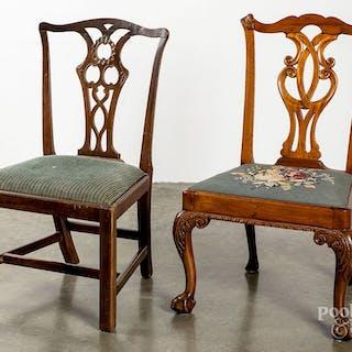 Two Georgian mahogany dining chairs