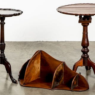 Two mahogany piecrust stands, etc.