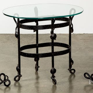Arts and Crafts wrought iron glass top table, etc