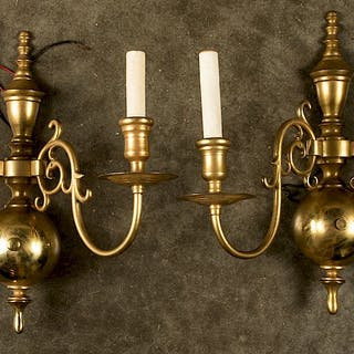 Pair of cast brass wall sconces