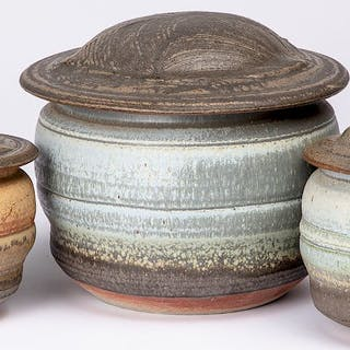 Karen Karnes three studio pottery lidded vessels