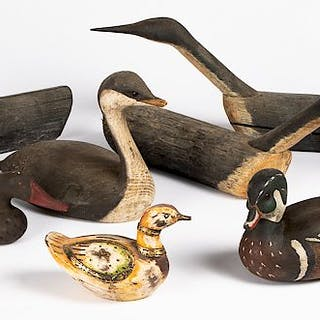 Ten contemporary carved and painted duck decoys