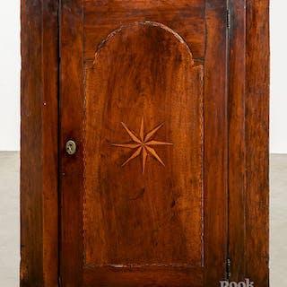 George III inlaid mahogany hanging corner cupboard