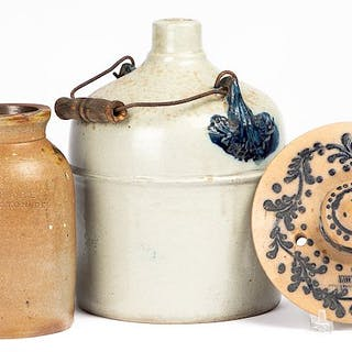 Three stoneware jars, etc.
