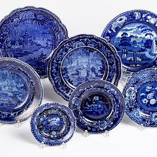 Eleven blue Staffordshire plates