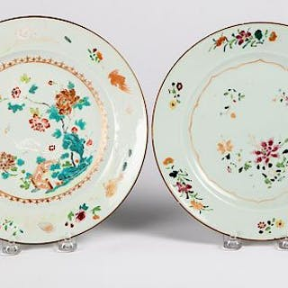 Four Chinese export porcelain famille rose plates