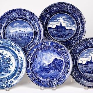 Four Staffordshire plates, etc.