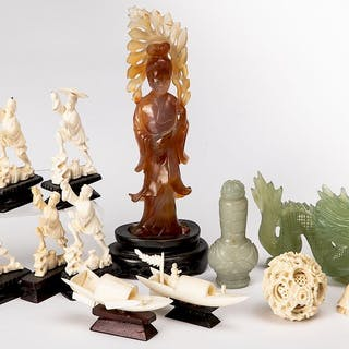 Chinese and Japanese ivory and hardstone carvings