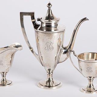 Three-piece sterling silver tea service