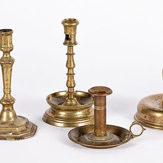 Two Dutch brass bell base candlesticks, etc.