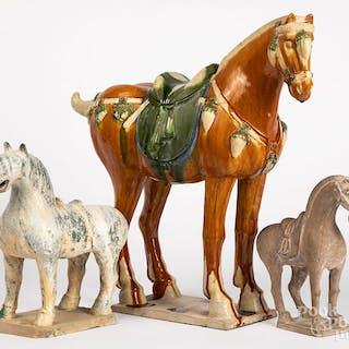 Three Chinese pottery horses