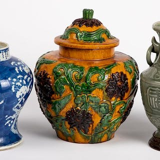 Two Chinese porcelain vases, etc.