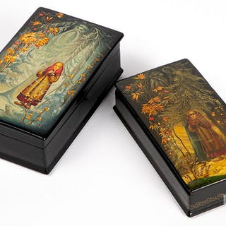 Two Russian Fedoskino lacquer boxes