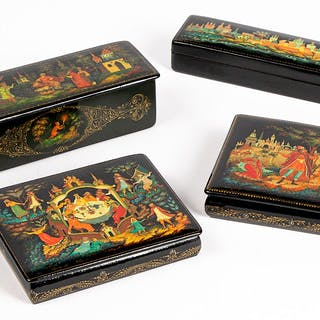 Four Russian lacquer boxes