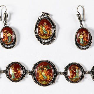 Russian silver and lacquer jewelry set