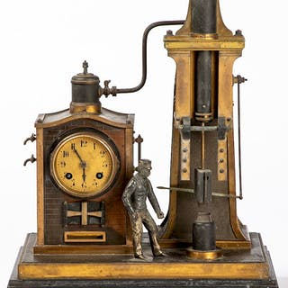 French mixed metal mantel clock