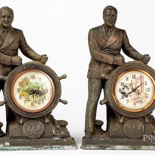 Two Franklin Roosevelt mantel clocks