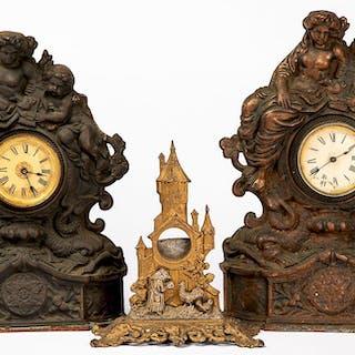 Two cast iron mantel clocks, etc.