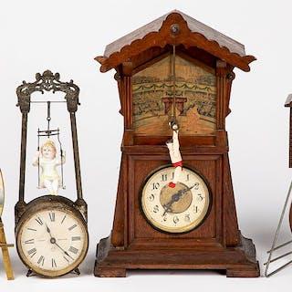 Three mechanical mantel clocks, etc.