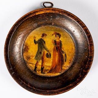 Miniature oil on copper courting scene
