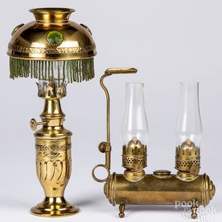 Two miniature brass lamps