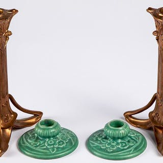 Pair of Rookwood pottery candlesticks, etc.