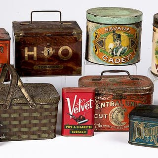 Group of tobacco advertising tins