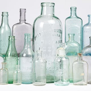 Group of colorless glass medical bottles, etc.