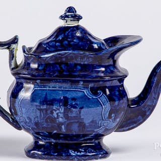 Blue Staffordshire Harp teapot