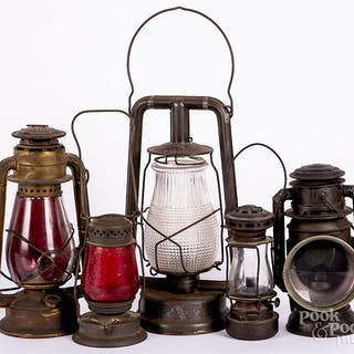 Five early tin lanterns