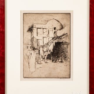Bertha Jaques four pencil signed etchings