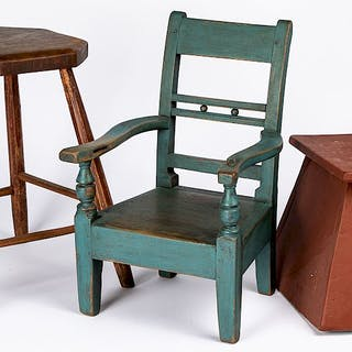 Painted stand, together with a stool and a chair