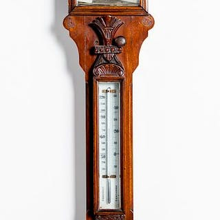 Large Victorian carved mahogany barometer