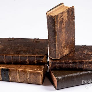 Five leather bound religious texts