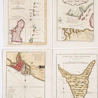 Seven Bellin 1754 hand colored maps