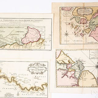 Four Bellin 1754 hand colored maps